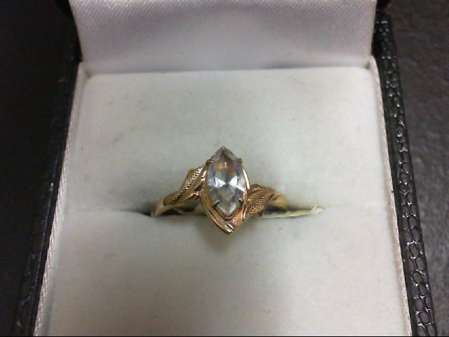 Synthetic White Stone Lady's Stone Ring 10K Yellow Gold 1g