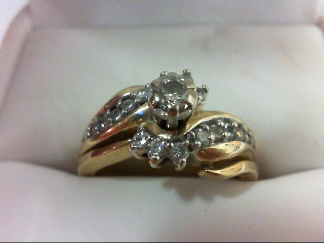 Lady's Diamond Wedding Set 17 Diamonds 0.5 Carat T.W. 14K Yellow Gold 6.9g Size: