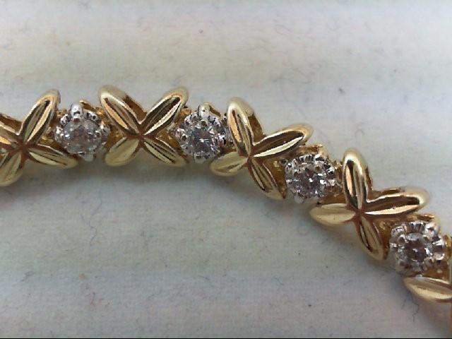 Gold-Diamond Bracelet 19 Diamonds 1.14 Carat T.W. 10K Yellow Gold 11.9g