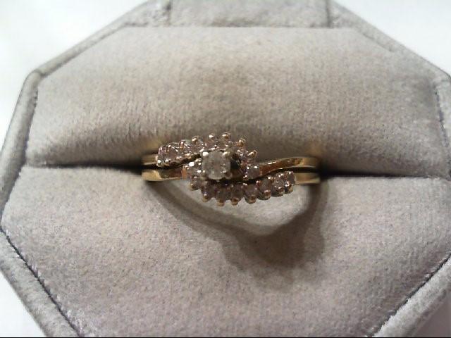 Lady's Diamond Wedding Set 19 Diamonds .46 Carat T.W. 14K Yellow Gold 4g