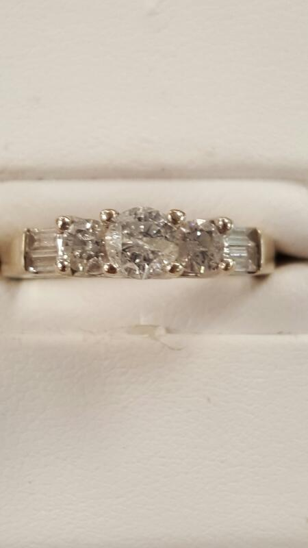 Lady's Diamond Engagement Ring 3 Diamonds .80 Carat T.W. 14K White Gold 2.7dwt