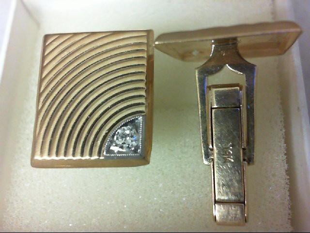 Gold-Diamond Cuff Links 2 Diamonds 0.06 Carat T.W. 14K Yellow Gold 8.8g