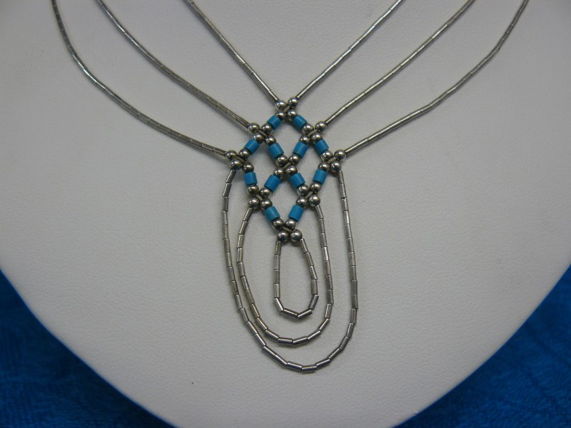 "18"" Synthetic Turquoise Stone Necklace 925 Silver 0.89dwt"
