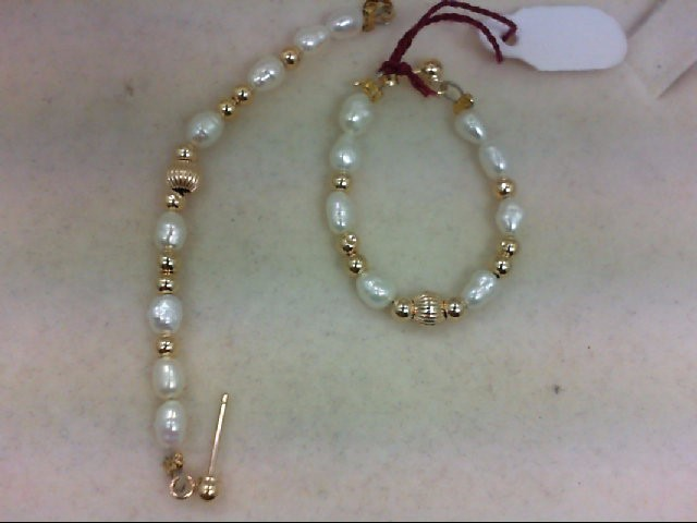 Pearl Gold-Stone Earrings 14K Yellow Gold 2g
