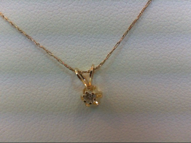 Gold-Diamond Solitaire Pendant 0.05 CT. 10K Yellow Gold 0.5g
