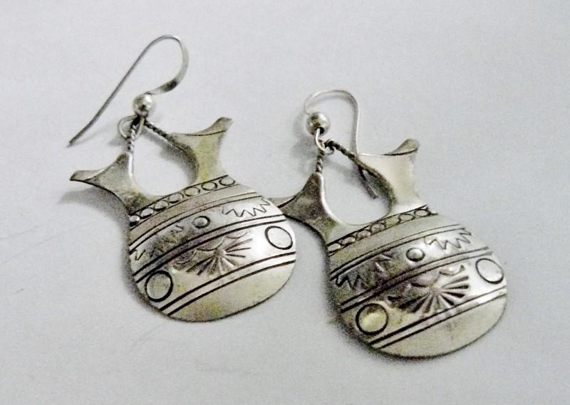 DOUBLE SPOUT VASE - VESSEL AZTEC - MAYAN Silver Earrings 925 Silver 2.8dwt