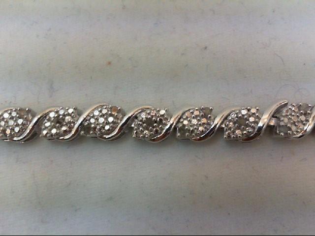 Silver-Diamond Bracelet 44 Diamonds .44 Carat T.W. 925 Silver 12.8g