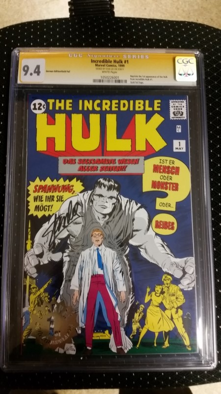 The Incredible Hulk #1 1999 German Reprint Gold Foil CGC SS 9.4 Stan Lee