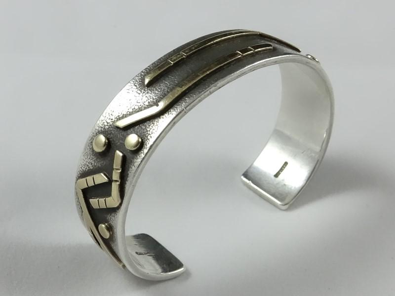 Estevan's Silver Cuff Bracelet 925/14k 54g Total Weight