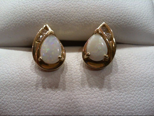 Opal Gold-Diamond & Stone Earrings 4 Diamonds .04 Carat T.W. 14K Yellow Gold