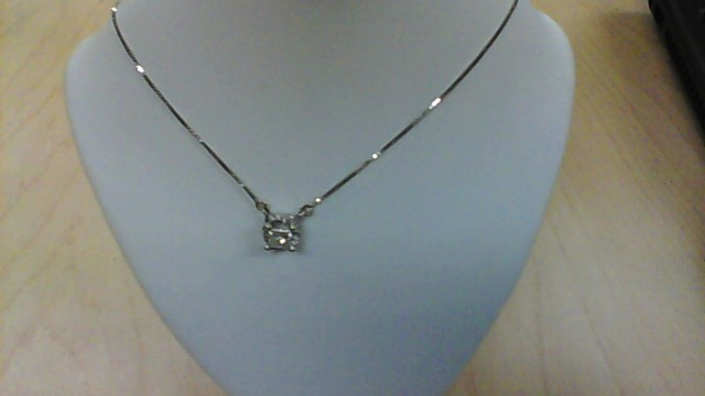Diamond Necklace 17 Diamonds .82 Carat T.W. 14K White Gold 2.8g