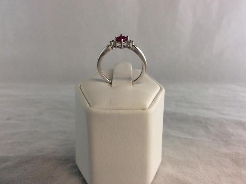 Red Stone Lady's Stone & Diamond Ring 2 Diamonds .02 Carat T.W. 10K White Gold