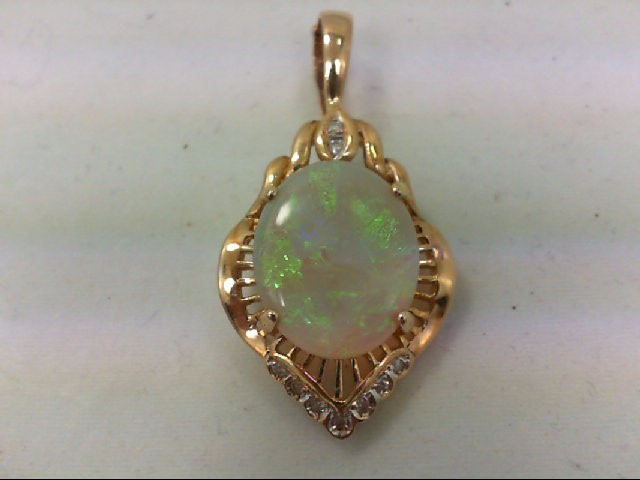 Opal Gold-Diamond & Stone Pendant 9 Diamonds 0.09 Carat T.W. 14K Yellow Gold 5.2