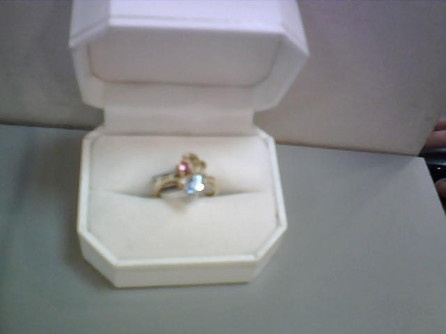 Blue Topaz, Pink Tourmaline & Diamond Ring 2 Diamonds .04 Carat T.W.