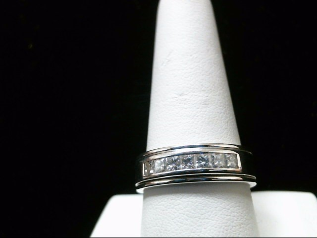 Gent's Gold-Diamond Wedding Band 7 Diamonds 1.05 Carat T.W. 14K White Gold 9.4g
