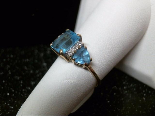 Synthetic Aquamarine Lady's Stone & Diamond Ring 2 Diamonds .02 Carat T.W.