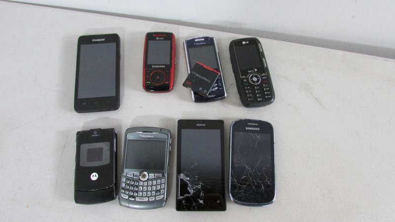 8 MISC MODEL CELL PHONES, SOLD AS IS