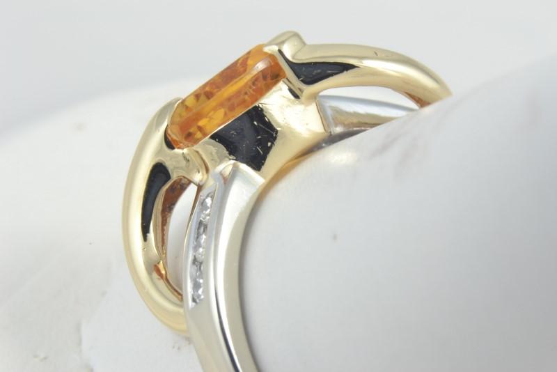 ESTATE CITRINE DIAMOND RING ORANGE TRILLION CUT SOLID 10K GOLD SZ 9