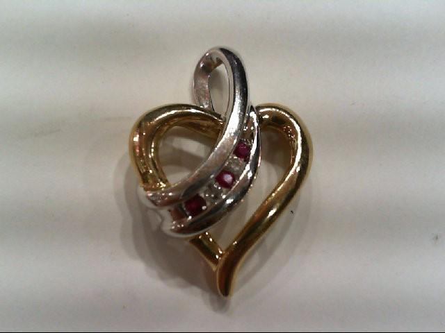 Ruby Gold-Diamond & Stone Pendant 2 Diamonds .04 Carat T.W. 10K 2 Tone Gold