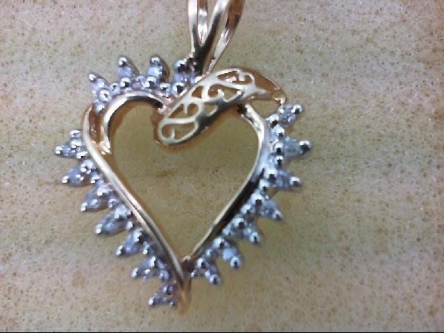Gold-Multi-Diamond Pendant 14 Diamonds .14 Carat T.W. 10K Yellow Gold 1.6g