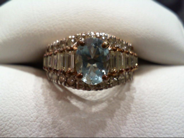 Blue Topaz Lady's Stone & Diamond Ring 34 Diamonds 1.00 Carat T.W.