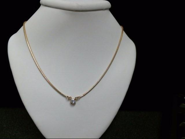 Diamond Necklace .13 CT. 18K Yellow Gold 8.4g