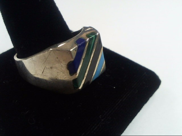 SIZE 12 SILVER RING W/ 4 STONES