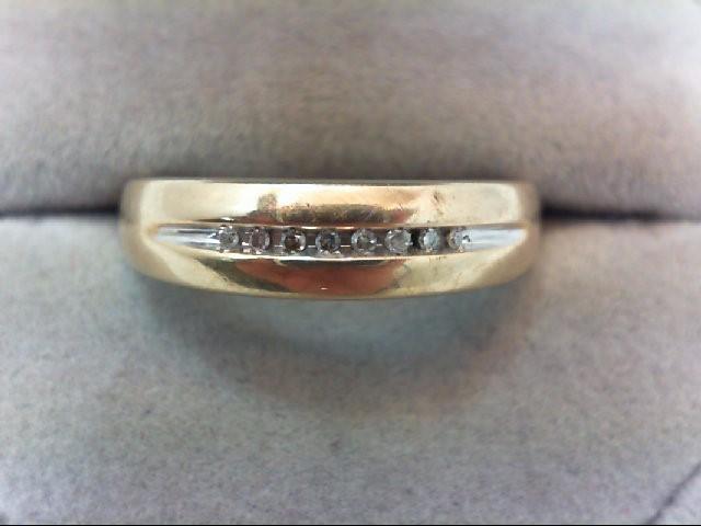 Gent's Gold-Diamond Wedding Band 8 Diamonds .08 Carat T.W. 10K Yellow Gold 2.1g