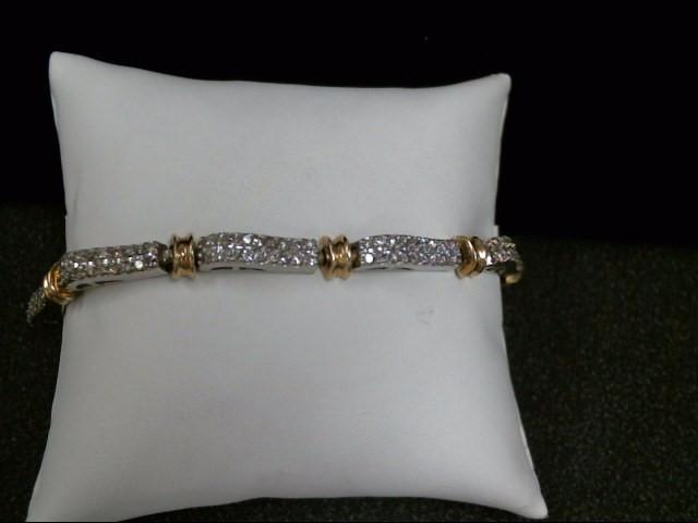 Gold-Diamond Bracelet 162 Diamonds 3.24 Carat T.W. 14K 2 Tone Gold 16.9g