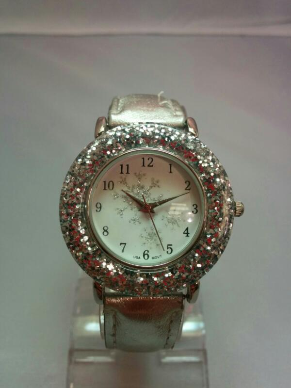 LADIES SNOWFLAKE GLITTER WATCH