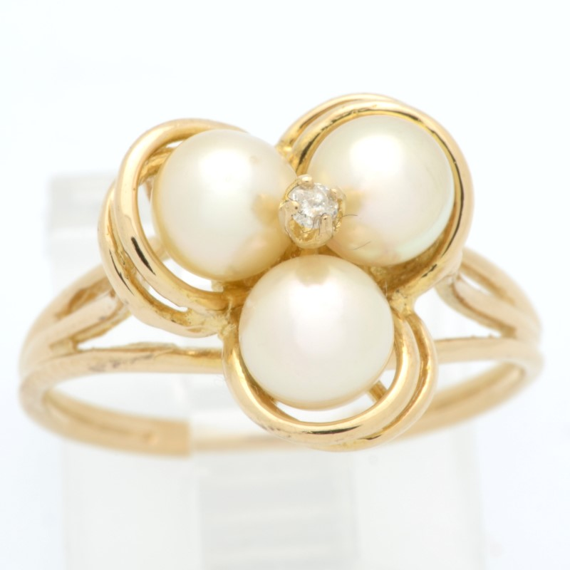 ESTATE PEARL DIAMOND CLUSTER RING SOLID 14K GOLD THREE FLOWER SIZE 7