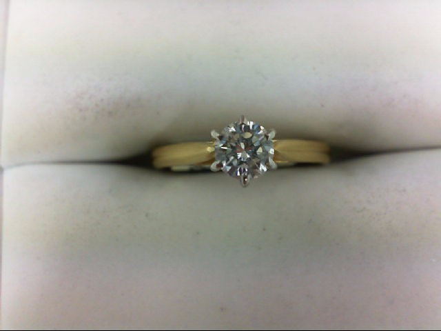 Lady's Diamond Engagement Ring 0.3 CT. 18K Yellow Gold 2g Size:3.5
