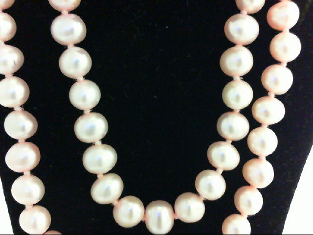 "17"" Pearl Strand Stone Necklace 10K Yellow Gold 16.8g"