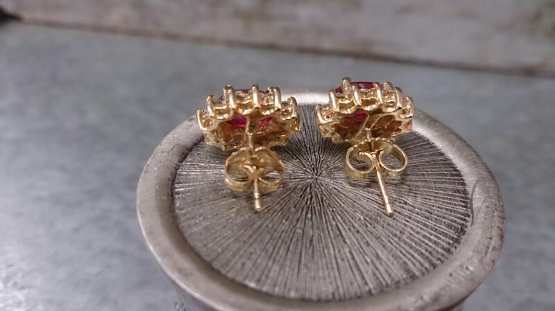 Ruby Gold-Diamond & Stone POST Earrings 24