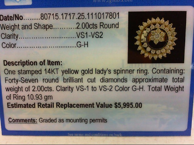 Lady's Diamond Cluster Ring 47 Diamonds 2.10 Carat T.W. 14K Yellow Gold 10.93g