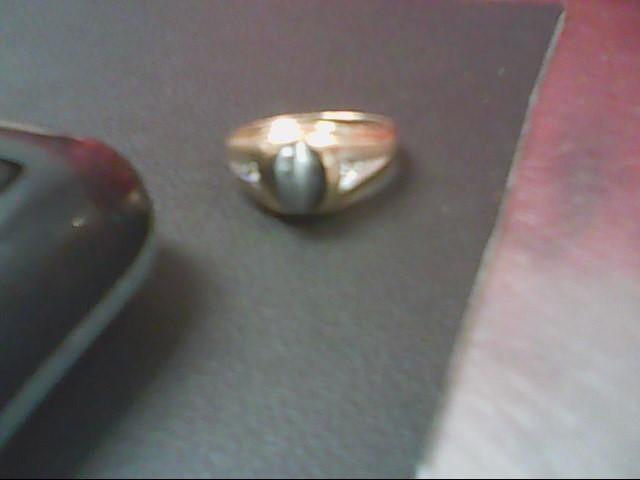 Synthetic Cats Eye Crysoberyl Gent's Stone & Diamond Ring