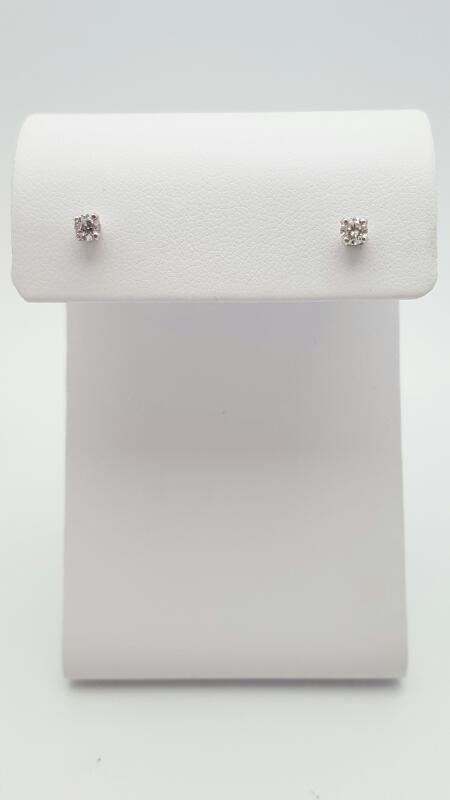Gold-Diamond Earrings 2 Diamonds .24 Carat T.W. 14K White Gold 0.5g