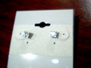 Gold-Diamond Earrings 2 Diamonds .40 Carat T.W. 10K White Gold 1.1g