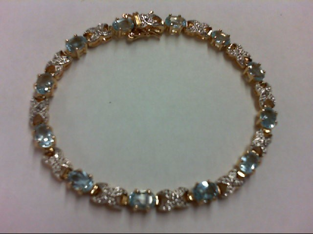 Blue Topaz Silver-Stone Bracelet 925 Silver 10.1g