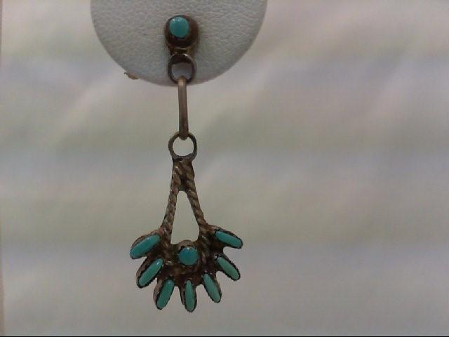 ZUNI TURQUOISE Silver Earrings 925 Silver 3.3g