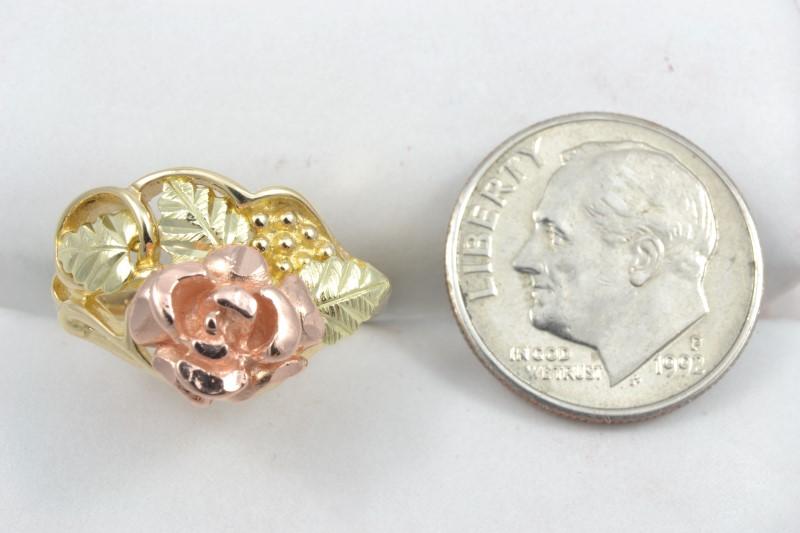 ESTATE ROSE RING SOLID 10K GOLD TRI COLOR FLOWER LEAF BLOOM SIZE 6