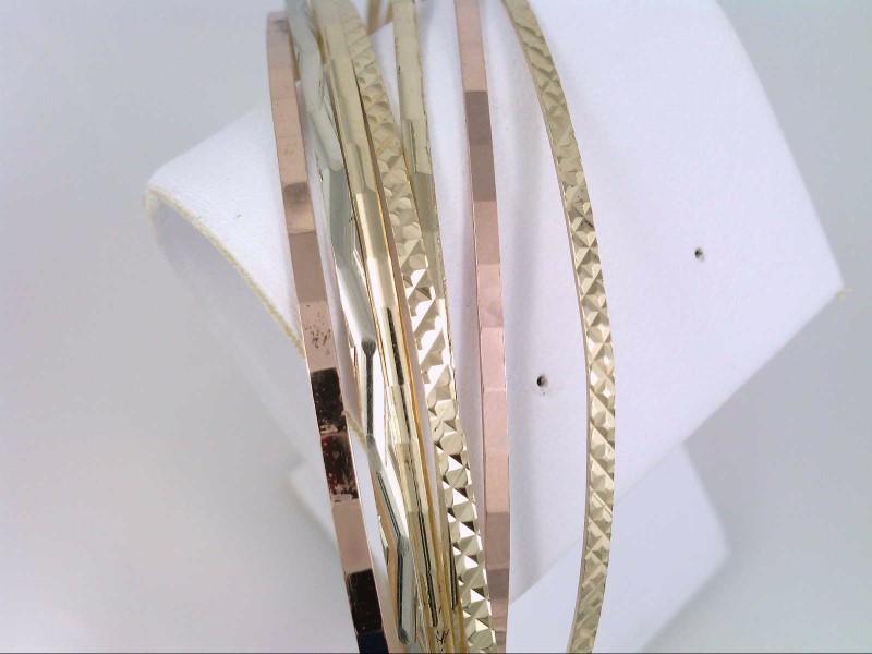 VINTAGE REAL SOLID 14K GOLD 7 BANGLE BRACELET SET TRI COLOR 17g