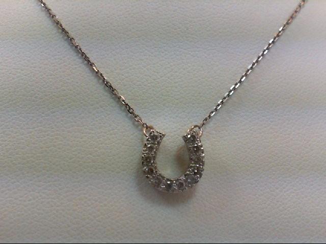 Gold-Multi-Diamond Pendant 12 Diamonds .12 Carat T.W. 14K White Gold 2.2g