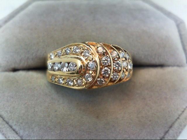 Lady's Diamond Cluster Ring 28 Diamonds .71 Carat T.W. 14K Yellow Gold 6.3g