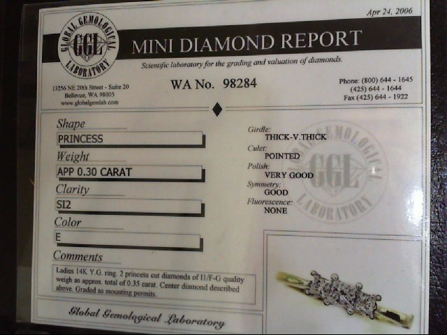 Lady's Diamond Engagement Ring 3 Diamonds .95 Carat T.W. 14K Yellow Gold 3.9g