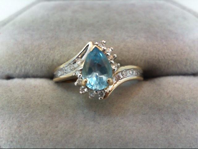 Blue Topaz Lady's Stone & Diamond Ring 17 Diamonds .17 Carat T.W.