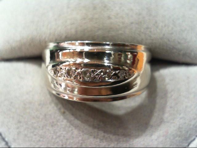 Gent's Gold-Diamond Wedding Band 5 Diamonds .08 Carat T.W. 14K White Gold 4.4g