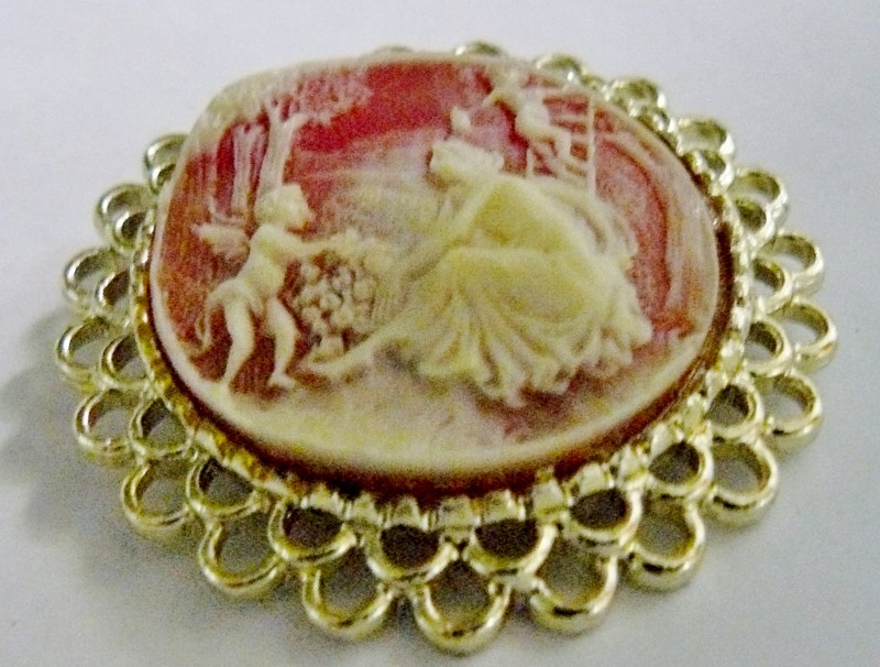 "CAMEO/BROOCH WITH ANTIQUED SILVERTONE SETTING - LADY W/ANGELS, 2"" X 2"""