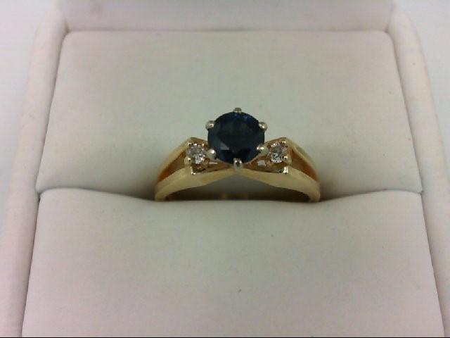 Sapphire Lady's Stone & Diamond Ring 2 Diamonds .06 Carat T.W. 14K Yellow Gold