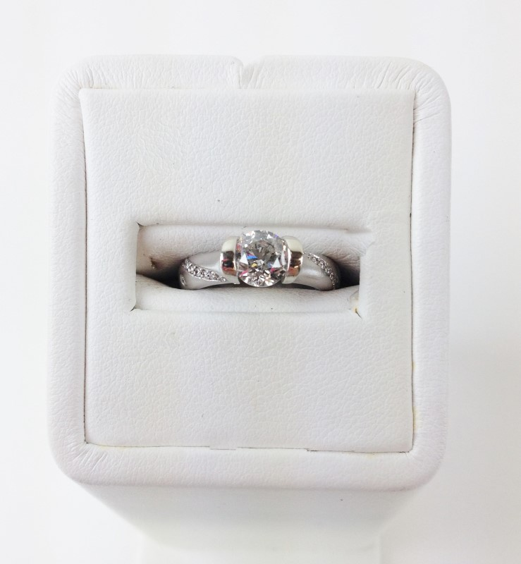 1.01cts Round I1 F-G w 13 other .36 14K White Gold 6.2g Tension Set Solitaire Rg